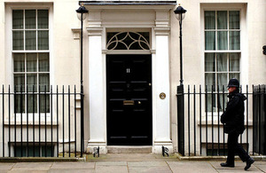 Number 11 Downing Street front door.