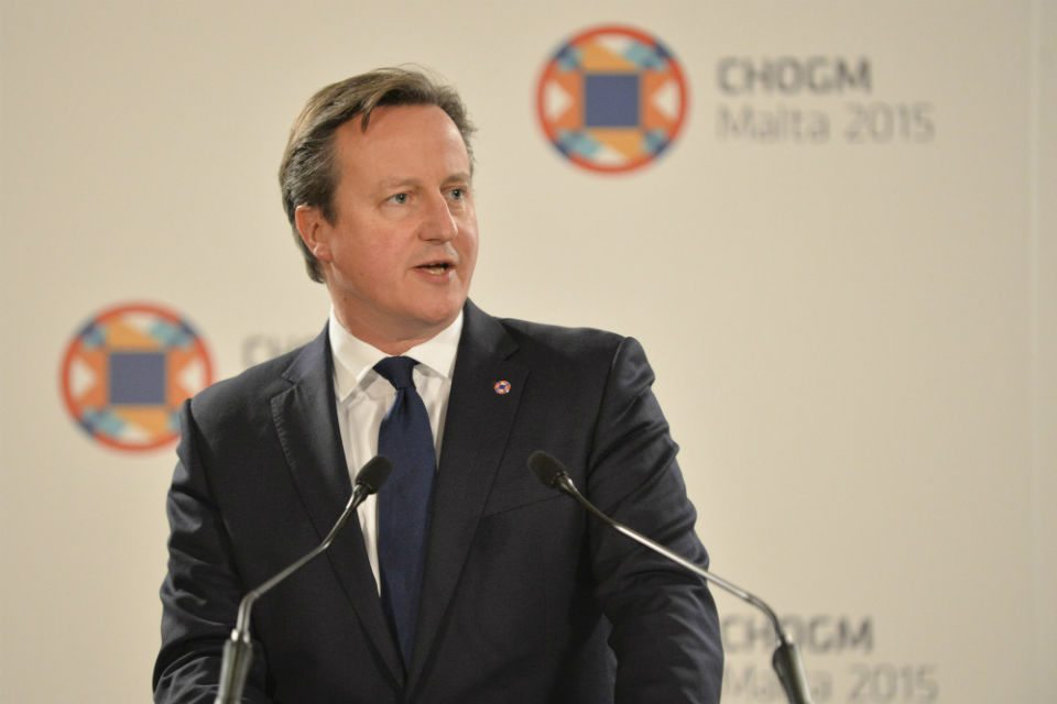 Prime Minister David Cameron makes a closing statement at CHOGM Press Conference