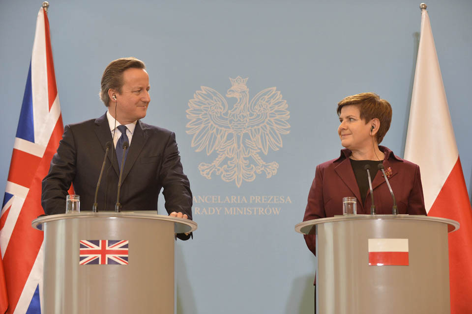 Prime Minister David Cameron speaking at a press conference with the Polish Prime Minister Szydło.