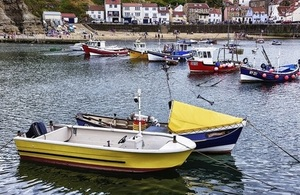 Fishing boats moored, Staithes harbour, North Yorkshire