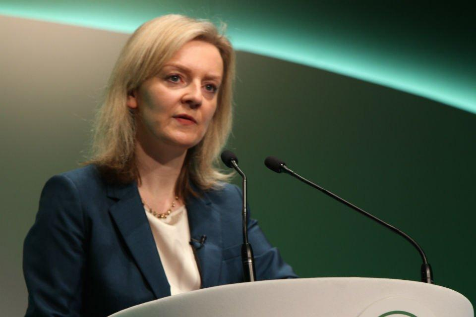 Elizabeth Truss speaking at the Oxford Farming Conference.