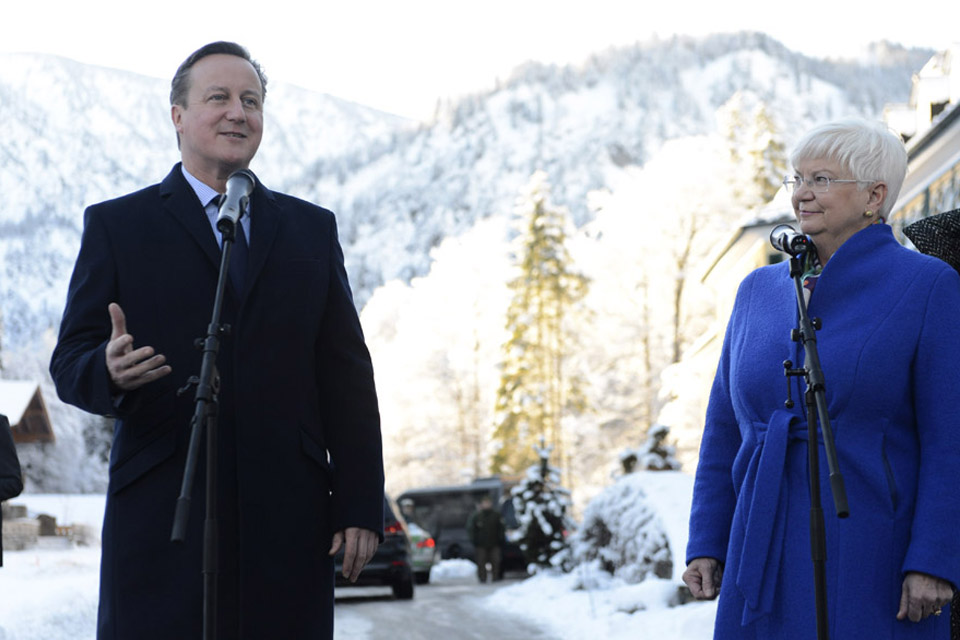 Prime Minister David Cameron speaking in Bavaria, pictured with Gerda Hasselfeldt