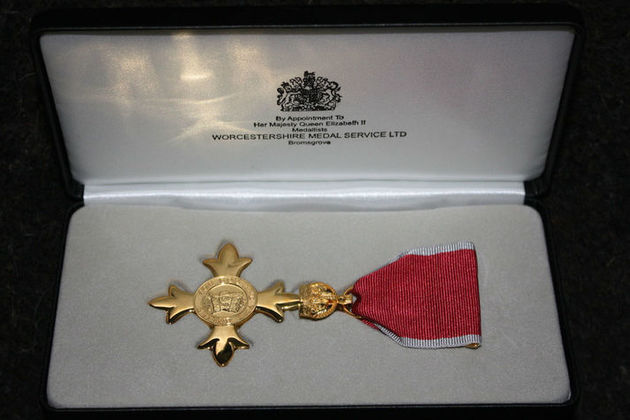 OBE medal in box