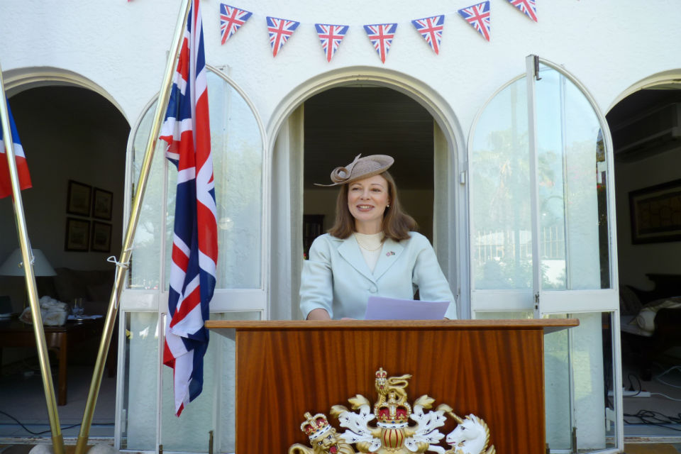 HE Mrs Marianne Young speaking at the Queen's Birthday Party celebrations