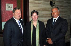 US Ambassador, Michael Hammer; HMA Fiona Clouder, and Dieter Linneberg, Executive Director of CLG Chile.