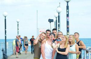 British tourists taking a selfie in Sunny Beach.