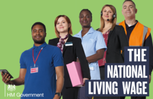 Five different workers alongside the National Living Wage logo