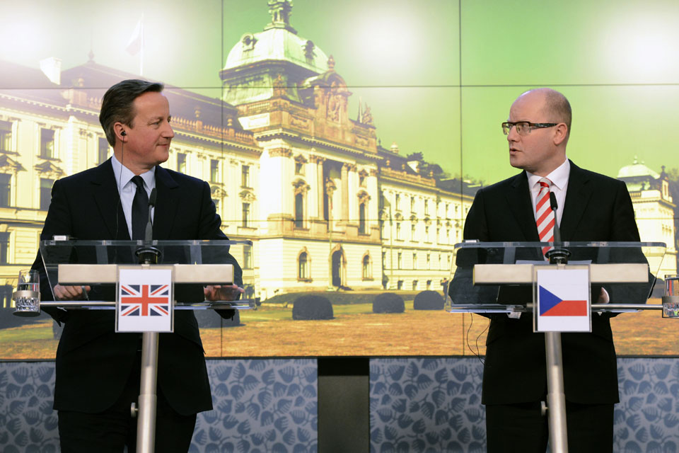 Prime Minister David Cameron with Prime Minister Bohuslav Sobotka of the Czech Republic