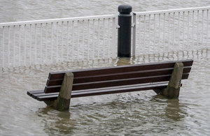 flooded park bench