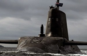 One of the Astute class submarines, HMS Artful, which will be fitted with the new navigation radar. Crown copyright.