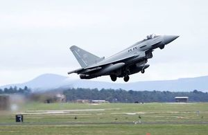 II (Army Cooperation) Squadron Typhoon taking off from RAF Lossiemouth. Crown copyright. Photo: SAC Robyn Stewart.