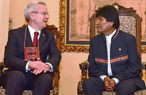 British Ambassador James Thornton with President Evo Morales
