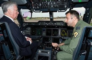 The Defence Secretary visits RAF Brize Norton. Crown Copyright.