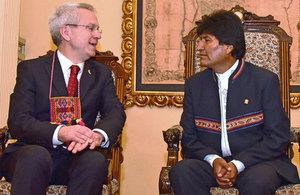 Ambassador James Thornton with President Evo Morales