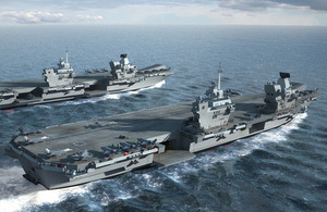 CGI visualisation of HMS Prince of Wales with HMS Queen Elizabeth. Crown Copyright BVT Surface Fleet. All rights reserved.