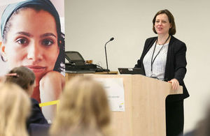 Photo of Melanie Dawes, Perm Sec for DCLG, talking at the International Women's Day event 2015