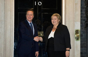PM welcoming Erna Solberg to Downing Street