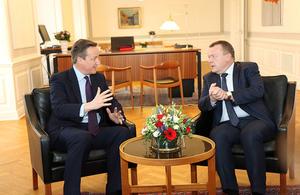 PM Cameron in Copenhagen with Danish PM Lars Loekke Rasmussen