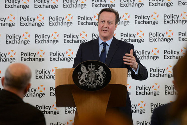 David Cameron giving a speech at the Policy Exchange