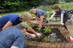 A therapeutic horticulture activity under way at a care farm