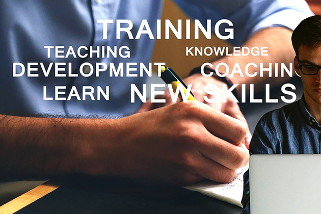 Man writing and at laptop overlaid with related keywords: training, coaching, development, learning, new skills