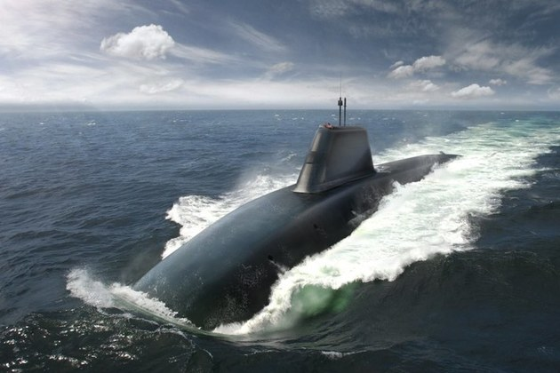 Picture of submarine at sea. Crown Copyright.