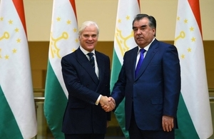 The Rt Hon Desmond Swayne with His Excellency President of Tajikistam Emomali Rahmon