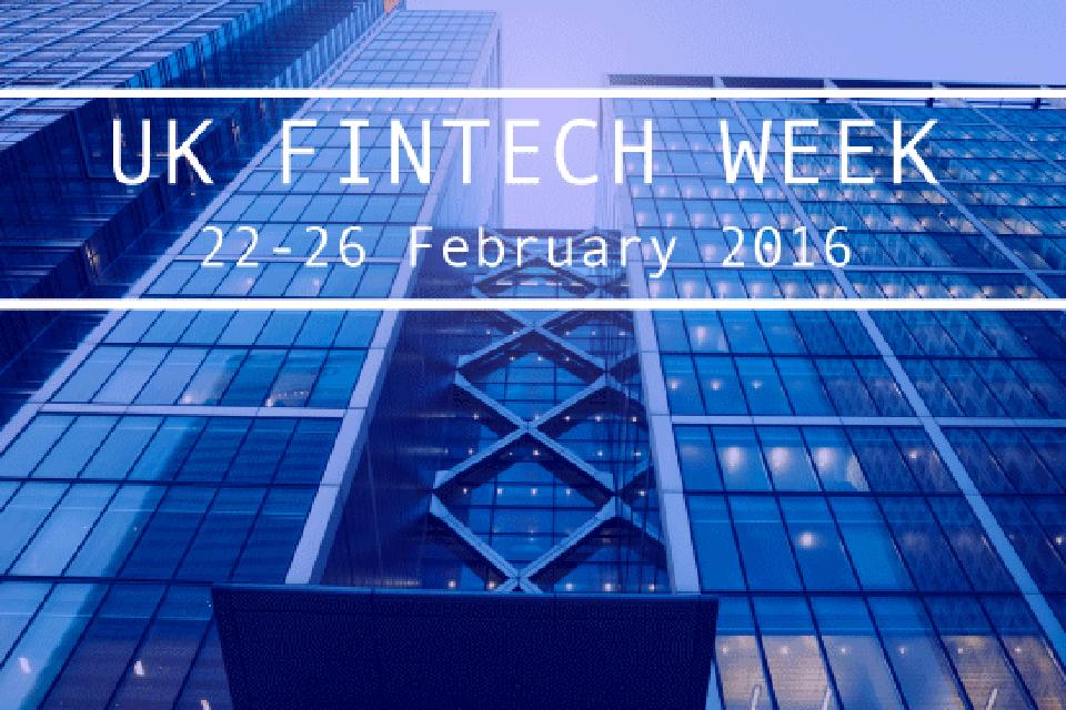 Fintech Week image of a blue glass building
