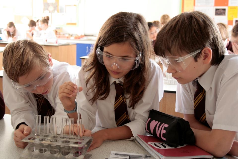 School pupils studying science.