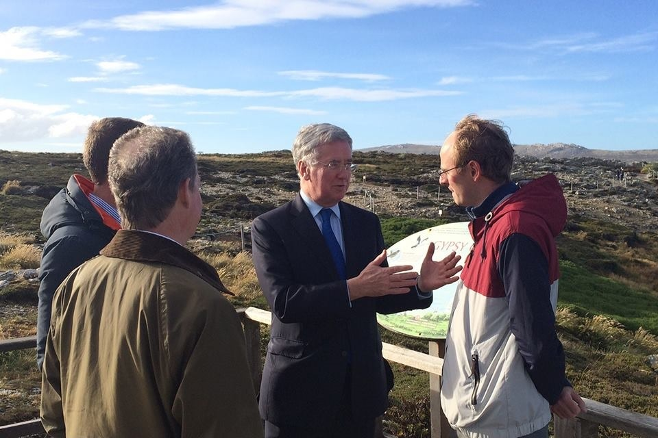 Mr Fallon in the Falkland Islands