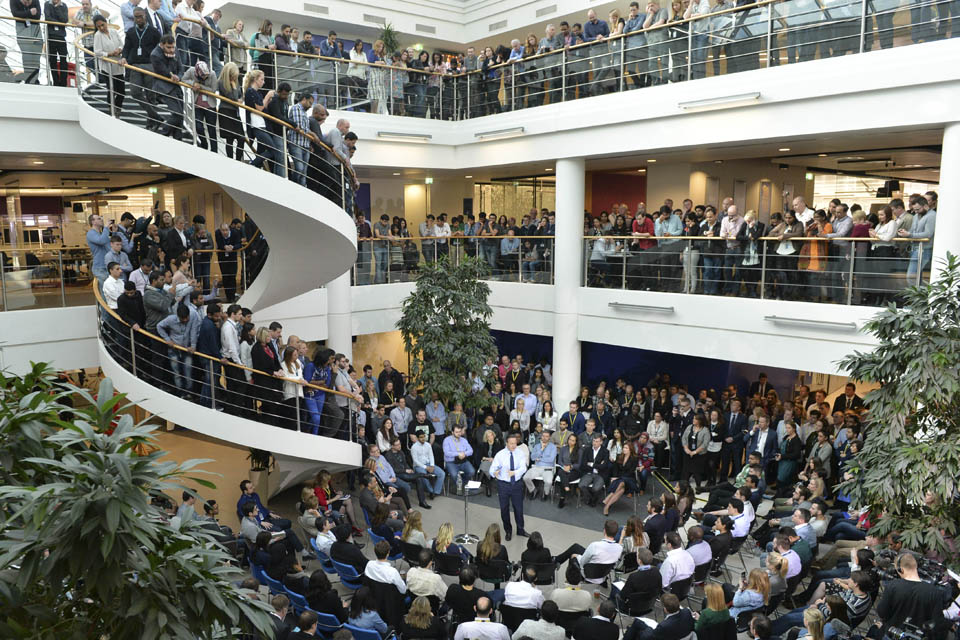 PM speaking to staff at O2 in Slough