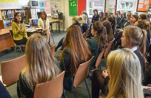 The Secretary of State spoke to 6th Form students from Sullivan Upper, Ashfield Girls, Strathearn, Glenlola, Priory College, Lagan College and St. Columbanus.