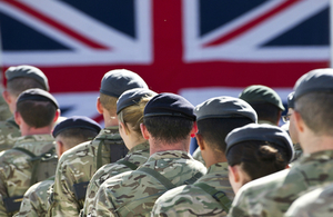 British flag and soldiers
