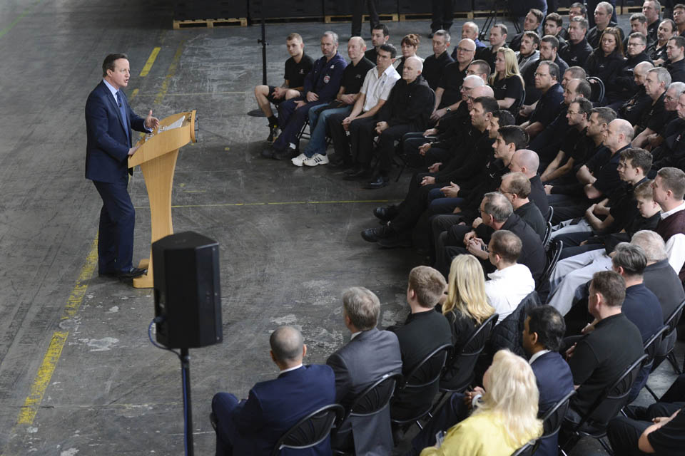Prime Minister speaking to Vauxhall employees.