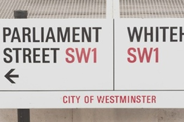 Parliament street sign