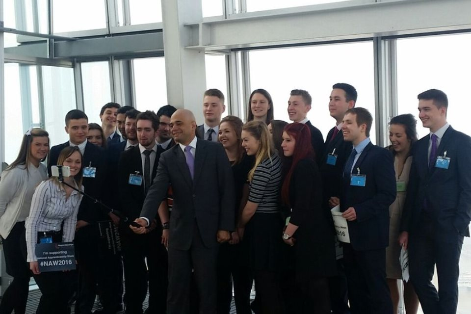 Secretary of State for BIS taking a selfie with apprentices at an event at London's Shard to launch National Apprenticeship Week.
