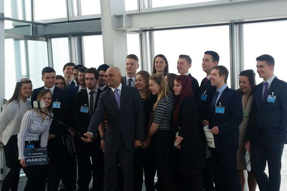 Secretary of State for BIS takes selfie with apprentices at an event at The Shard to mark the launch of National Apprenticeship Week.