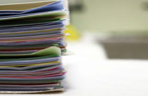 a pile of folders