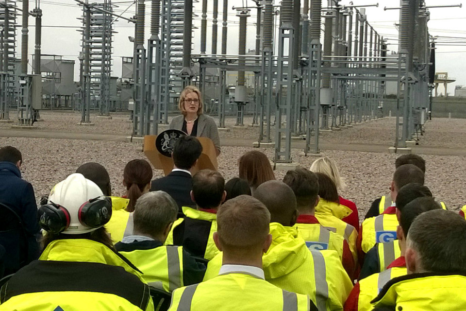 Amber Rudd speaking about the energy benefits of staying in the EU