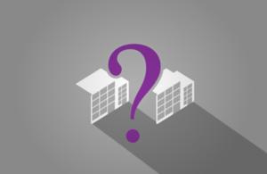 question mark between 2 buildings
