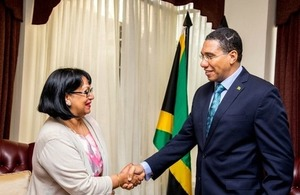 Baroness Verma greets Prime Minister of Jamaica Andrew Holness
