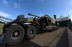 Troops and vehicles from France arrive in the UK to deploy on Exercise Griffin Strike. Crown Copyright.
