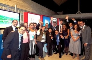 Ambassador John Saville and a group of former Chevening scholars during the launch of the alumni association