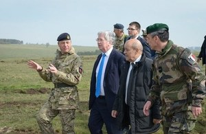 Defence Secretary Michael Fallon and French Defence Secretary Jean-Yves Le Drian witnessed elements of Exercise Griffin Strike. Crown Copyright.