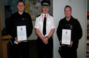 Officers being presented with their commendation