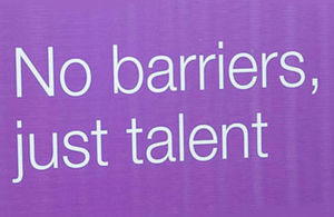 """Detail from Removing Barriers banner - with legend """"No barriers, just talent"""""""