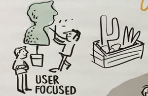 Detail from CS Learning cartoon visual showing man clipping hedge in shape of customer's head