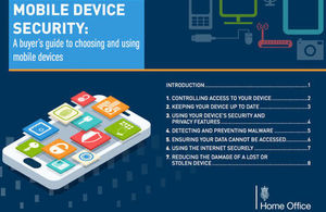 Front page of Mobile Device Security guide with graphics