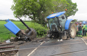 Image showing damaged tractor after the collision (courtesy of BTP)
