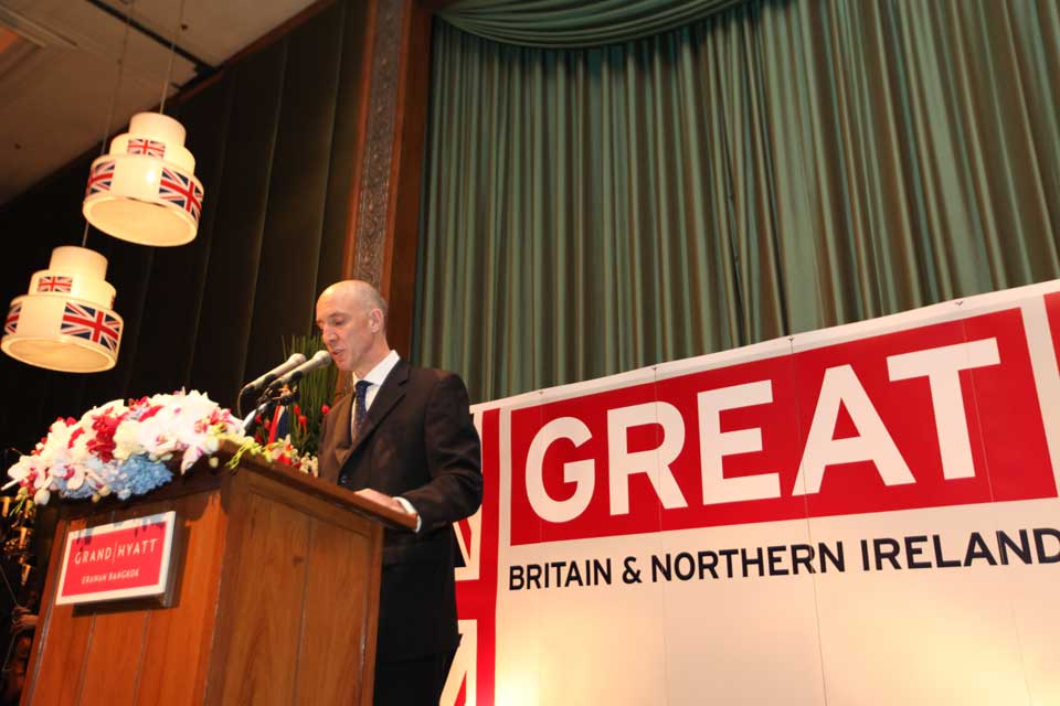 British Ambassador Mark Kent gives a speech at The Queen's Birthday Party